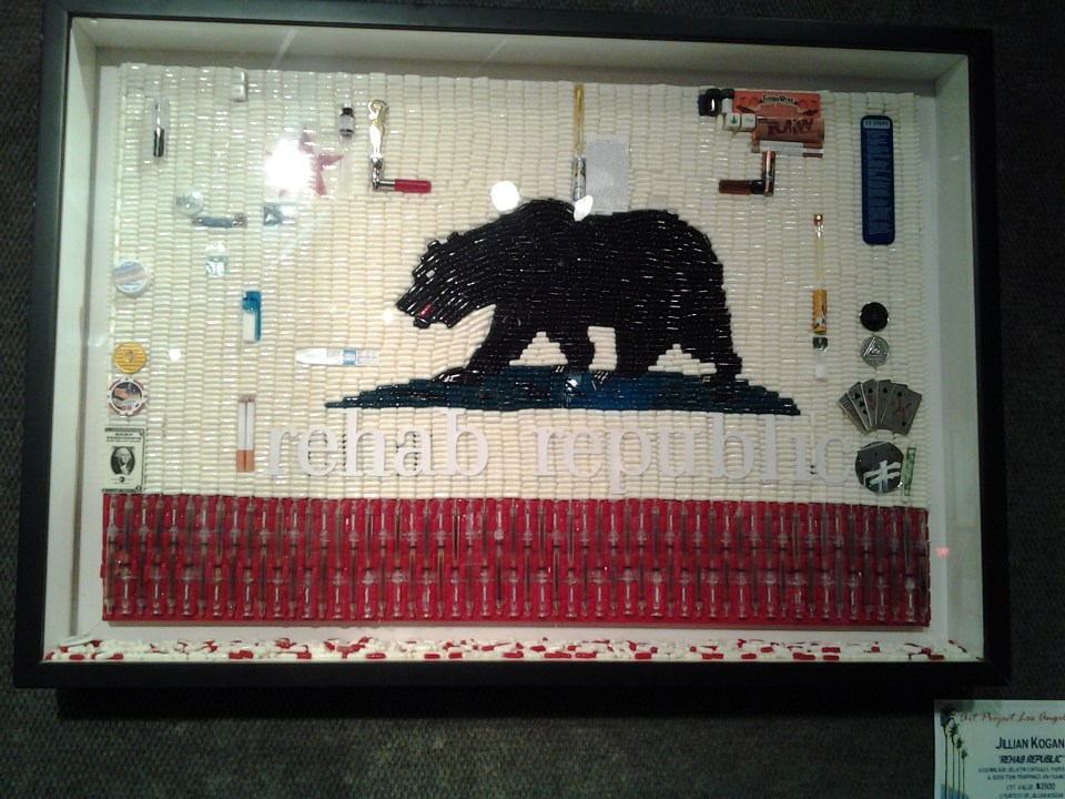 Rehab Republic by Jillian Kogan (made out of gelatin capsules)