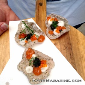 Senbei Whipped Lardo, Stone Fruit, Caviar