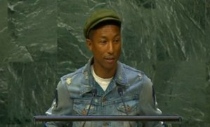 Pharrell Williams speaking at United Nations International Day of Happiness.
