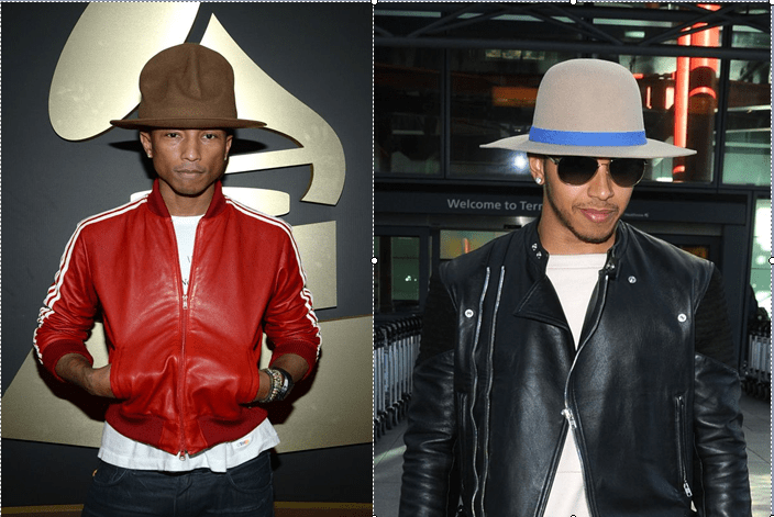 Who Rocked the Fedora Hat Better    Pharrell Williams Vs Lewis Hamilton 292d9ad8429