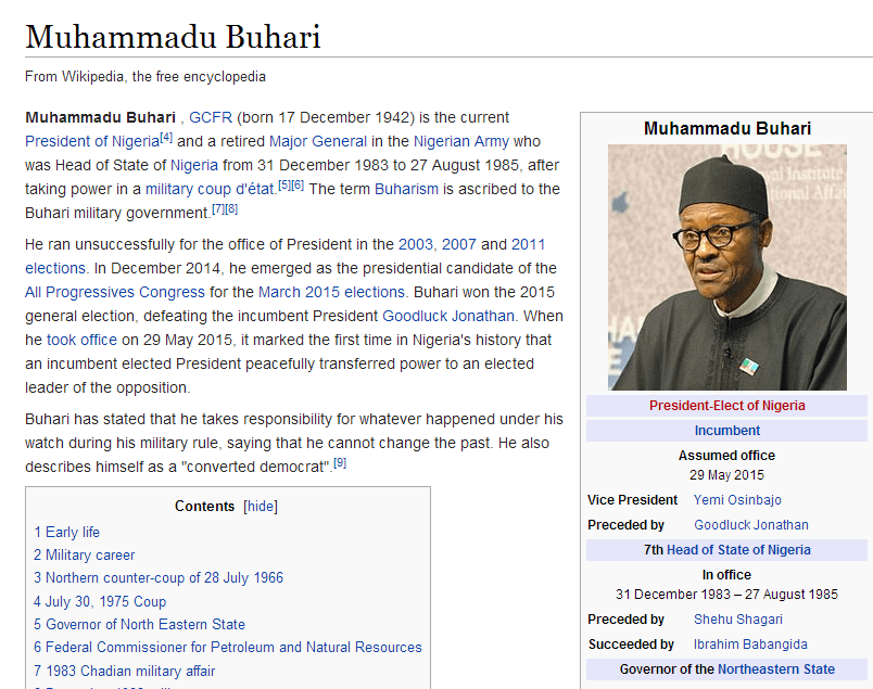 , Wikipedia Updates Buhari's Profile to President of Nigeria (Photo), Effiezy - Top Nigerian News & Entertainment Website