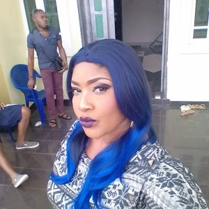 Angela Okorie step out with blue hair (Photo)