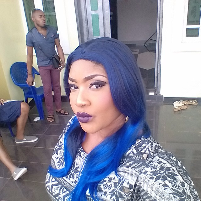 , Angela Okorie step out with blue hair (Photo), Effiezy - Top Nigerian News & Entertainment Website
