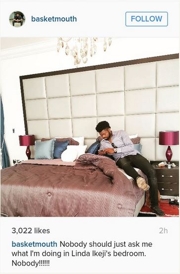 basketmouth in linda's bedroom