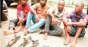 Bank robbers arrested minutes after arriving Lagos from Niger Delta (Photo)