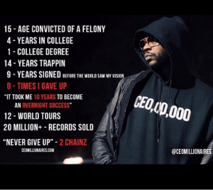 Rapper, 2 Chainz shares real life motivational message