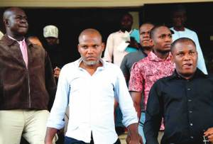 Nnamdi Kanu appears in court over treasonable charges (Photo)
