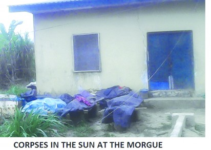 Corpses stacked outside the morgue in the sun