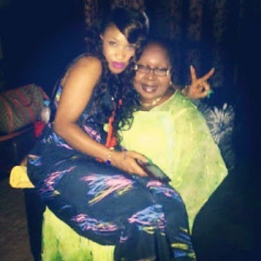 A young Tonto Dikeh with Step Mum