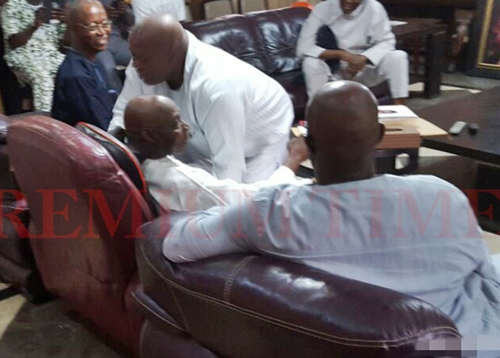Doyin Okupe prostrates and begs Obasano3