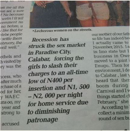 fnancial meltdown affecting sex workers in Calabar