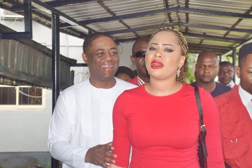 Femi Fani-Kayode and fiance, Precious in court