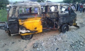 11 burnt to death as commercial bus explodes in Lagos (Photos)