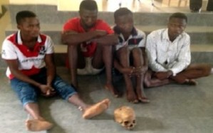 4 young men caught in Akwa Ibom while attempting to sell human skull (Photo)