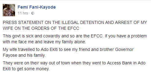 femi-fani-kayode-statement-over-wifes-detention-by-efcc