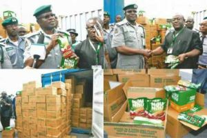 Custom impounds 20ft container of cooked jollof rice,Yam porridge and Egusi from India