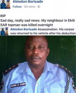 Top police officer assassinated in Ekiti