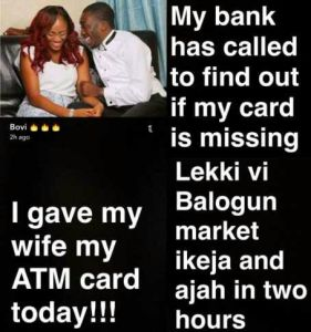 Bovi gave his wife his ATM card and this happened