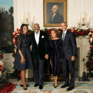 The Harveys strike a pose with the Obamas