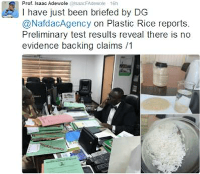, Minister of Health debunks plastic rice claims, Effiezy - Top Nigerian News & Entertainment Website