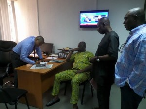 Fayose storms bank, withdraws N5m from unfrozen account (Photos)