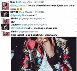 Singer Simi eyes Wizkid's jacket, weeks after Davido gave her a pair of shoes she asked for…