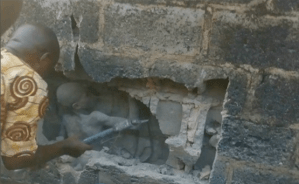 True story of boy trapped in a wall in Ondo state, what happened (Photos + Video)