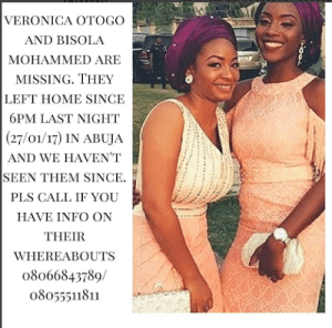 , Two ladies declared missing in Abuja, Effiezy - Top Nigerian News & Entertainment Website