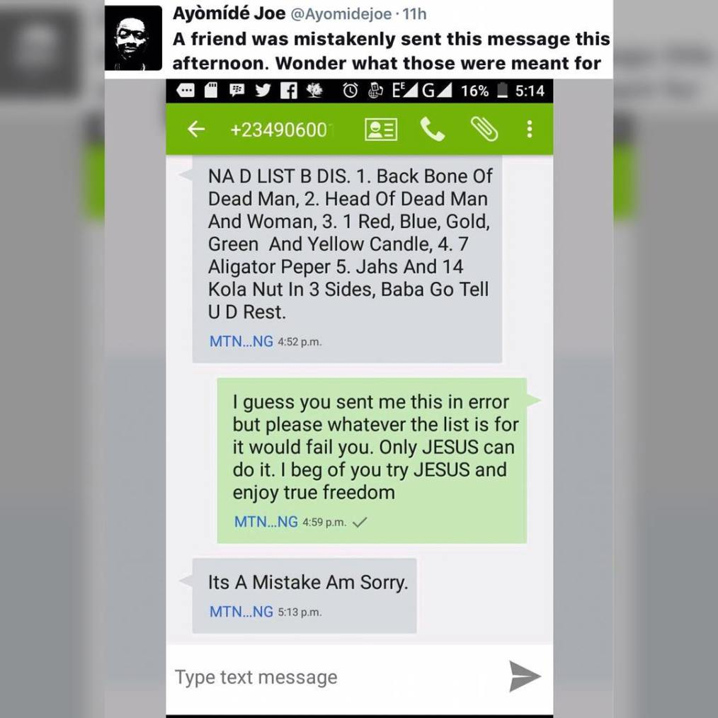 , What is this world turning into? List of ritual requirements sent to a wrong number, Effiezy - Top Nigerian News & Entertainment Website
