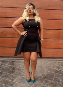 Actress Halima Abubakar flaunts hot legs in black mini gown