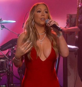 Mariah Carey and her succulent boobs wows crowd at Jimmy Kimmel Live