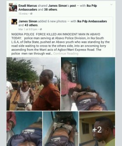 Policeman in Agbor,pushes man towards an on coming lorry killing him on the spot