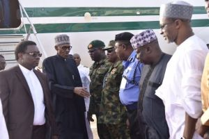 See photos of Buhari's arrival to Nigeria