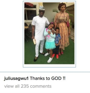 Fans come for Julius Agwu's wife for not smiling in new family photo