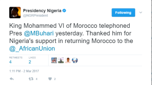 King of Morocco telephones president Buhari
