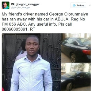 , Uber driver flees with boss' car in Abuja, Effiezy - Top Nigerian News & Entertainment Website