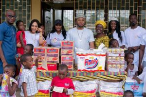 Tonto Dikeh's ex- husband visit Osu children's home in Ghana