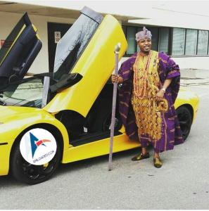 Oba of Oluwu kingdom flaunts his Lamboghini