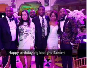 Meek Mill,Adesua Etomi and Banky W pictured at Igho Sanomi's birthday bash in Dubai