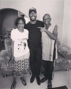 Bally pictured with Efe's parents in Jos