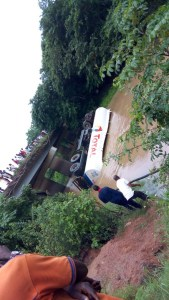 Tanker falls into Ogbese river along Owo road
