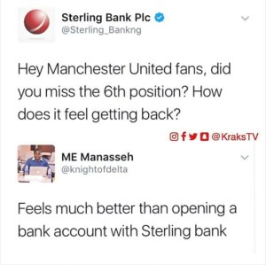 …..Between Sterling Bank and Manchester United