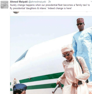 Nigerian reacts to photo of Zahra Buhari and her husband, Ahmed flying the Presidential fleet