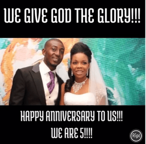 Dancer Kaffy and her husband, celebrate five years of marriage