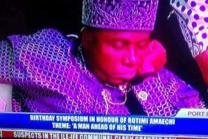 Rotimi Amaechi reportedly caught sleeping on live television (See Photos)
