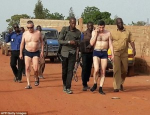 Foreign hostages on under wears after being released by terrorist abductors in Mali (photo)