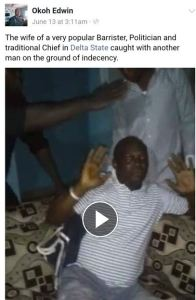 Popular politician's wife caught cheating with another man in Delta State (Photos+Video)