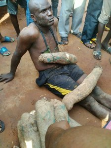 See what angry residents did to a man who was caught stealing tubers of yam in Onitsha market (Photos)
