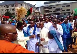 IPOB supporter ordained as a priest celebrate with Biafran flag in Anambra (Photos)