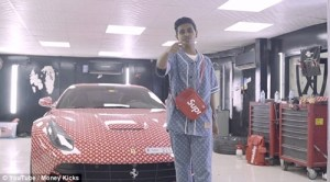 Dubai Billionaire's teenage son gets His Ferrari covered in Louis Vuitton despite Being too young to drive (Photos & Video))